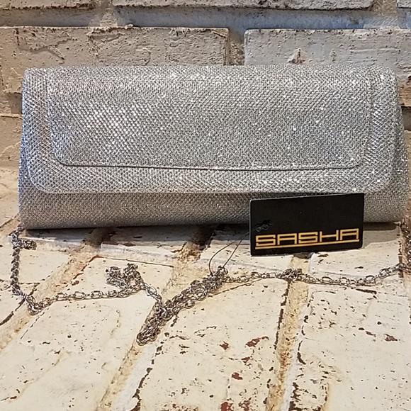 caf66d080bda1 Sasha evening handbag. Silver Blingy